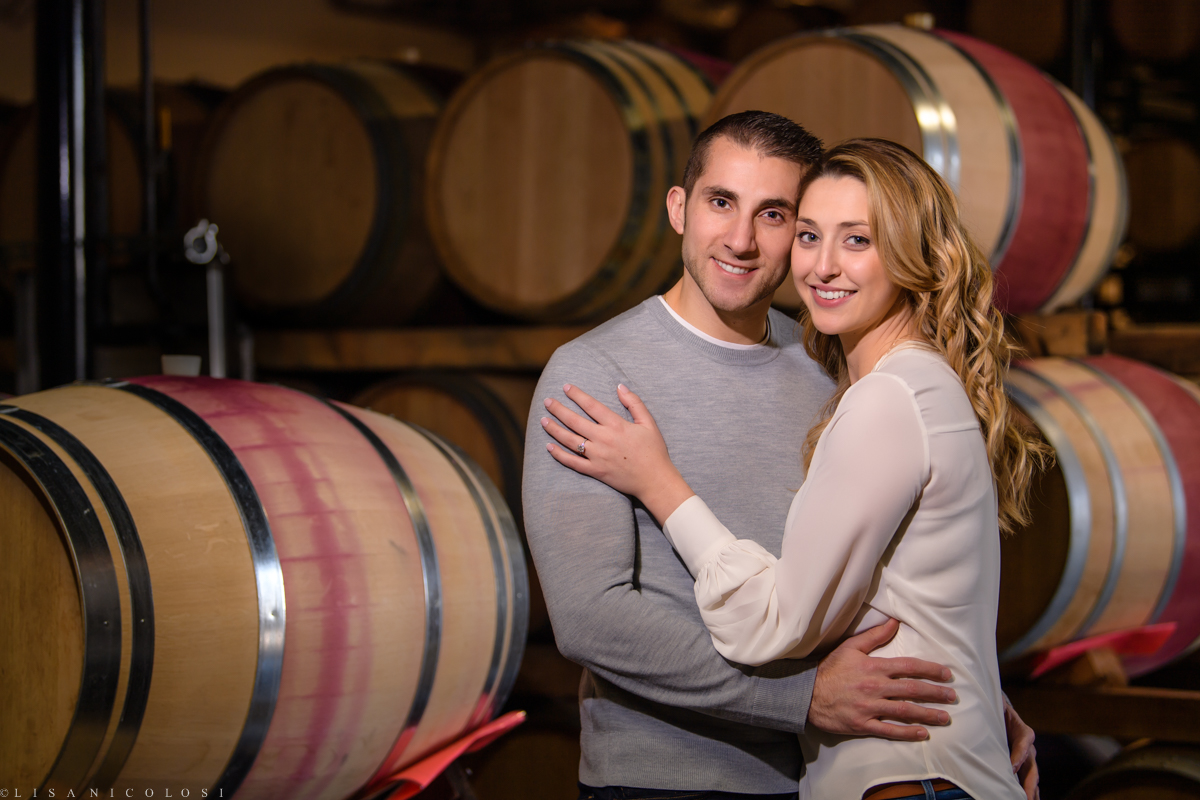 Bedell Cellars romantic Engagement photos in Cutchogue