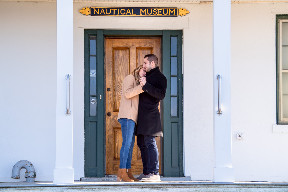 Couple dancing on porch at Horton Lighthouse in Southold
