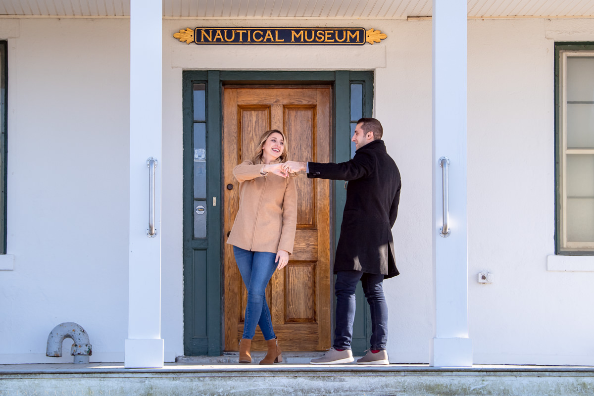 Couple dancing at North Fork Marriage Proposal at Horton Point Lighthouse Nautical Museum