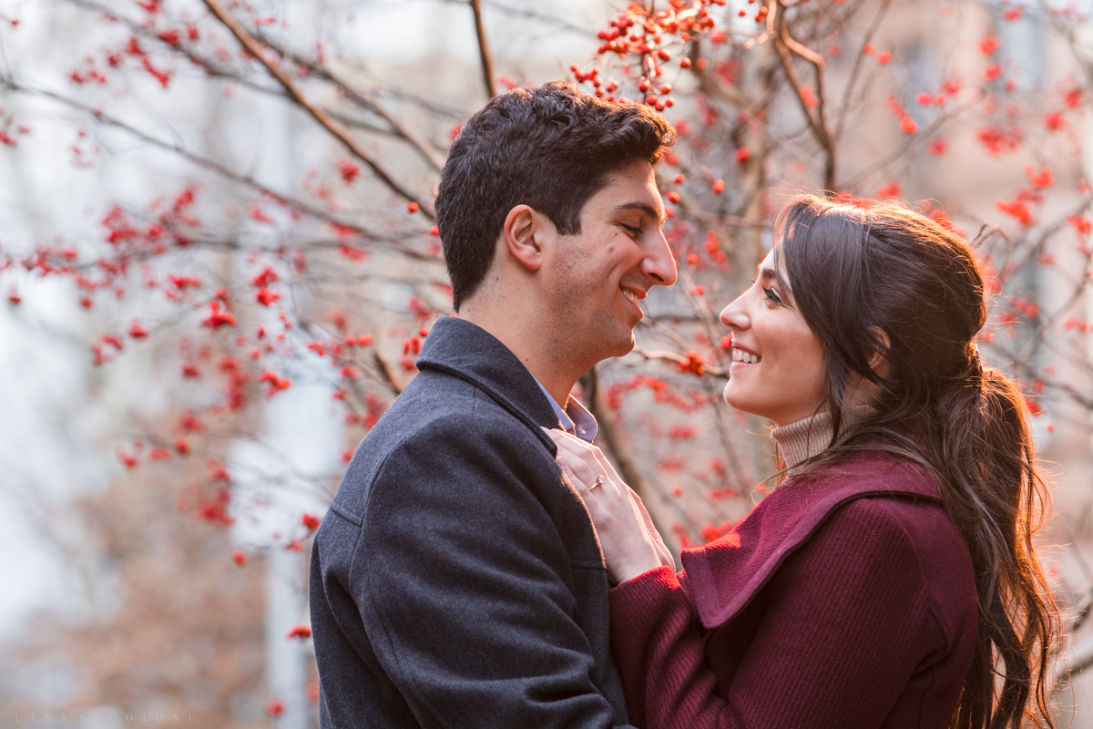 Romantic Bride and groom to be engagement portraits in Park Slope