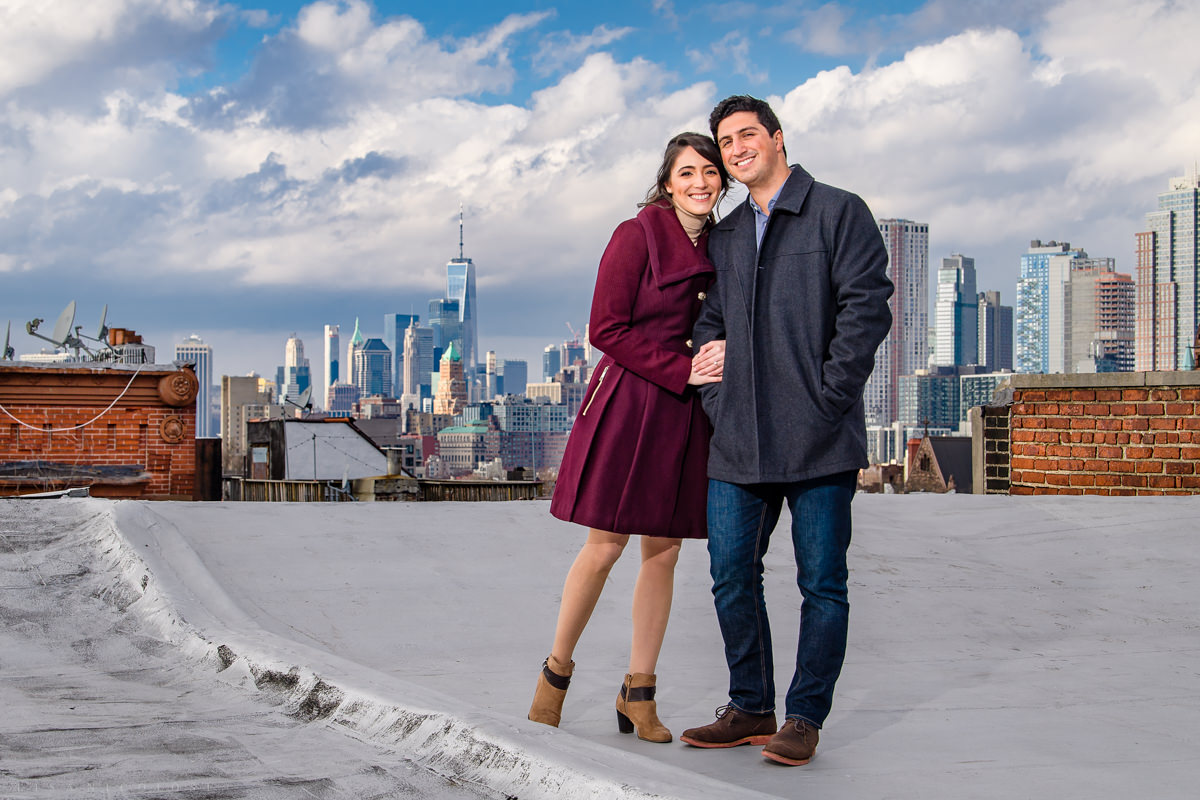 Park Slope Brooklyn Engagement Photos on rooftop - Brooklyn Wedding Photographer