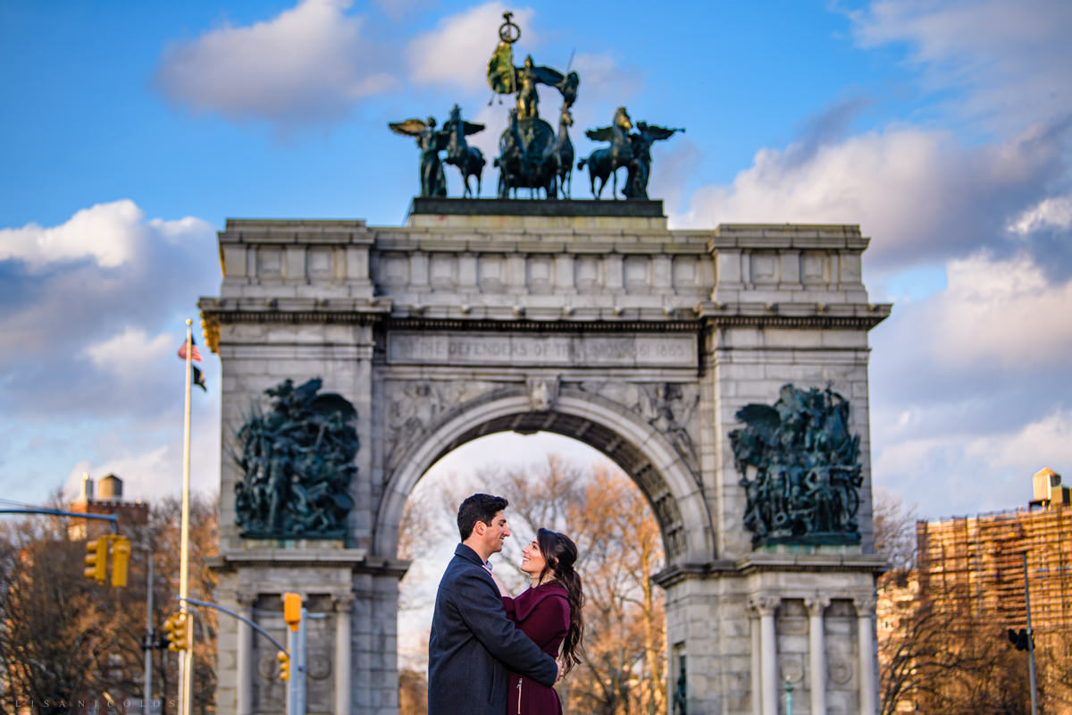 Couple at Soldier and Sailor's Arch in Brooklyn - Brooklyn Wedding Photographer
