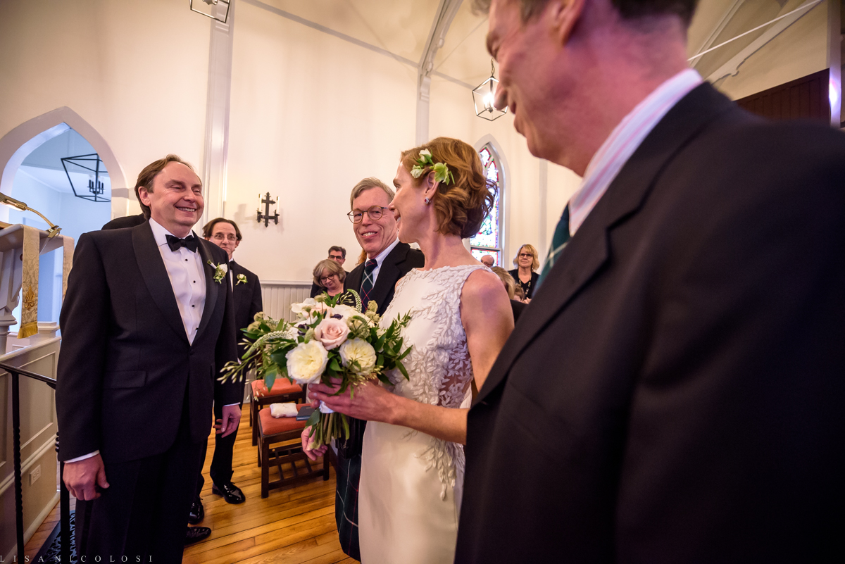 North Fork Wedding at Holy Trinity Episcopal Church - Bride and brother wedding processional