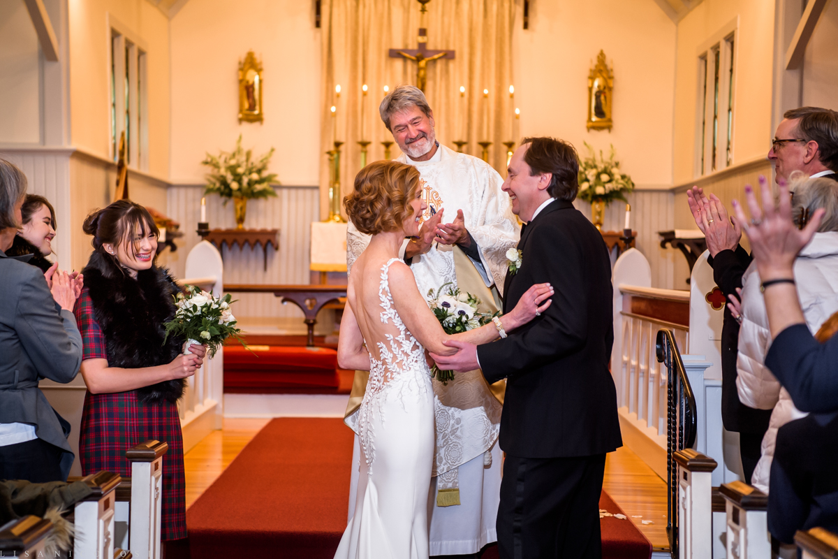 North Fork Wedding at Holy Trinity Episcopal Church - Bride and groom at church altar