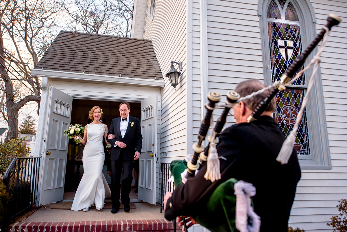 North Fork Wedding at Holy Trinity Episcopal Church - Bride and groom exiting church - bagpiper
