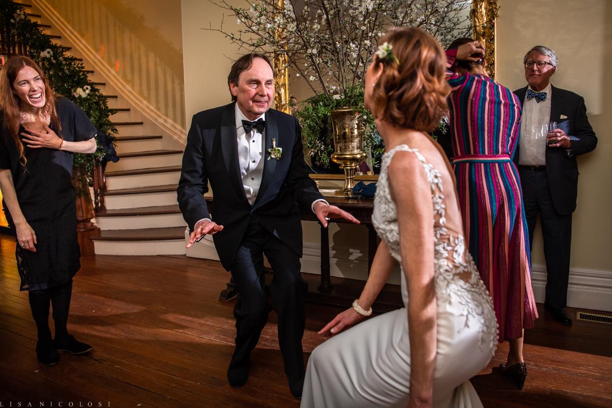Fun Brecknock Hall wedding - Wedding reception - bride and groom dancing