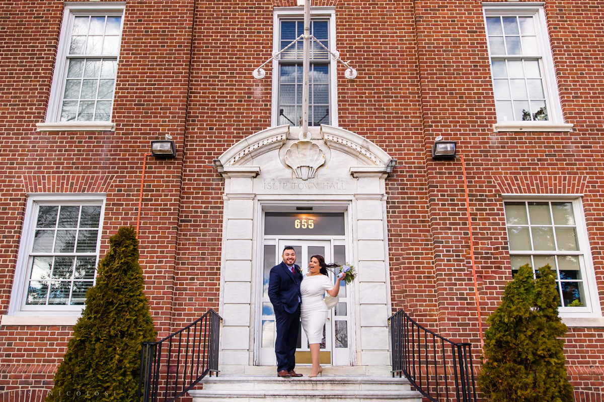 Islip Town Hall Intimate Wedding - Bride and Groom on Town Hall Steps