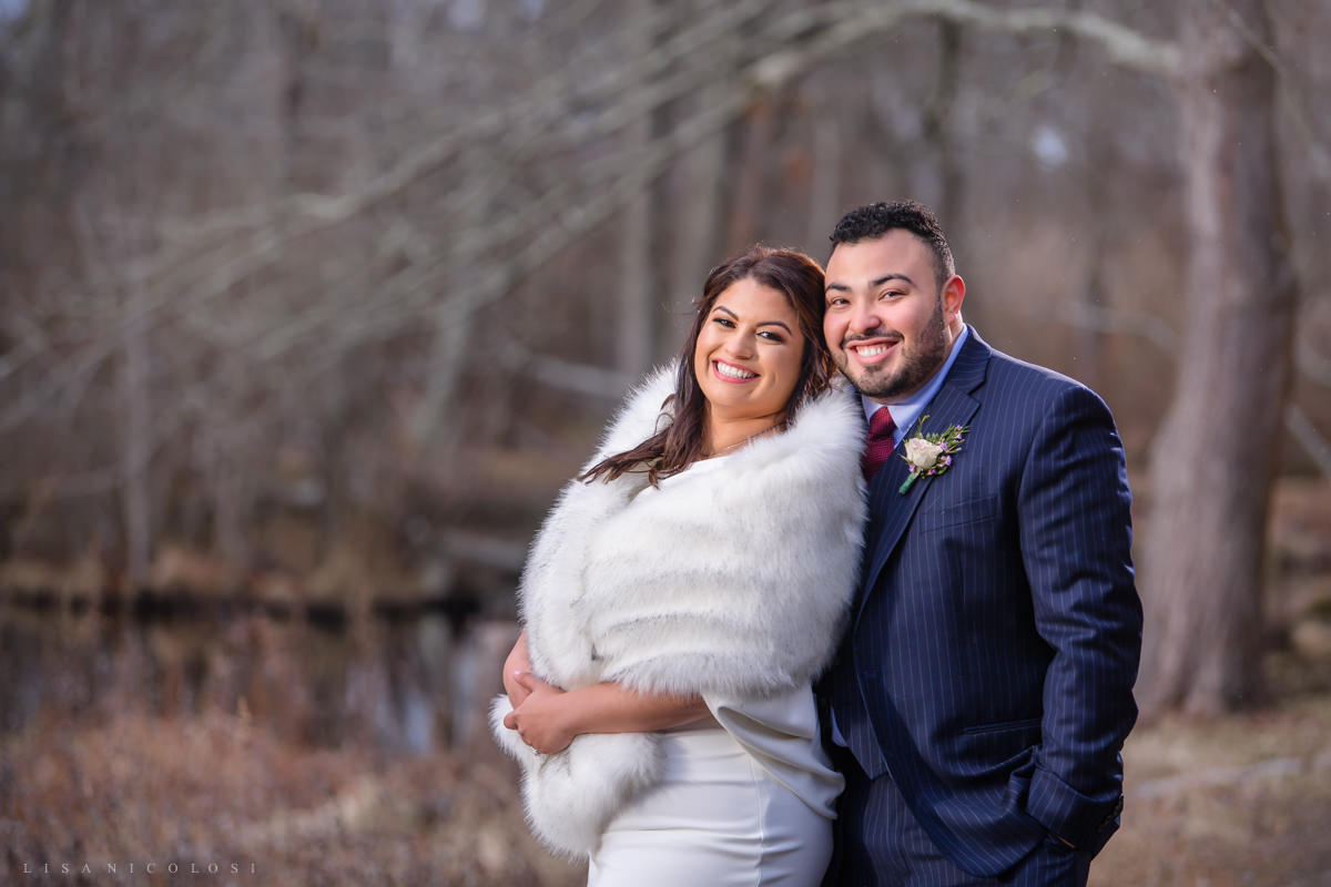 Islip Town Hall Intimate Wedding - Romantic Bride and Groom Portraits at Seatuck Environmental Scully Mansion