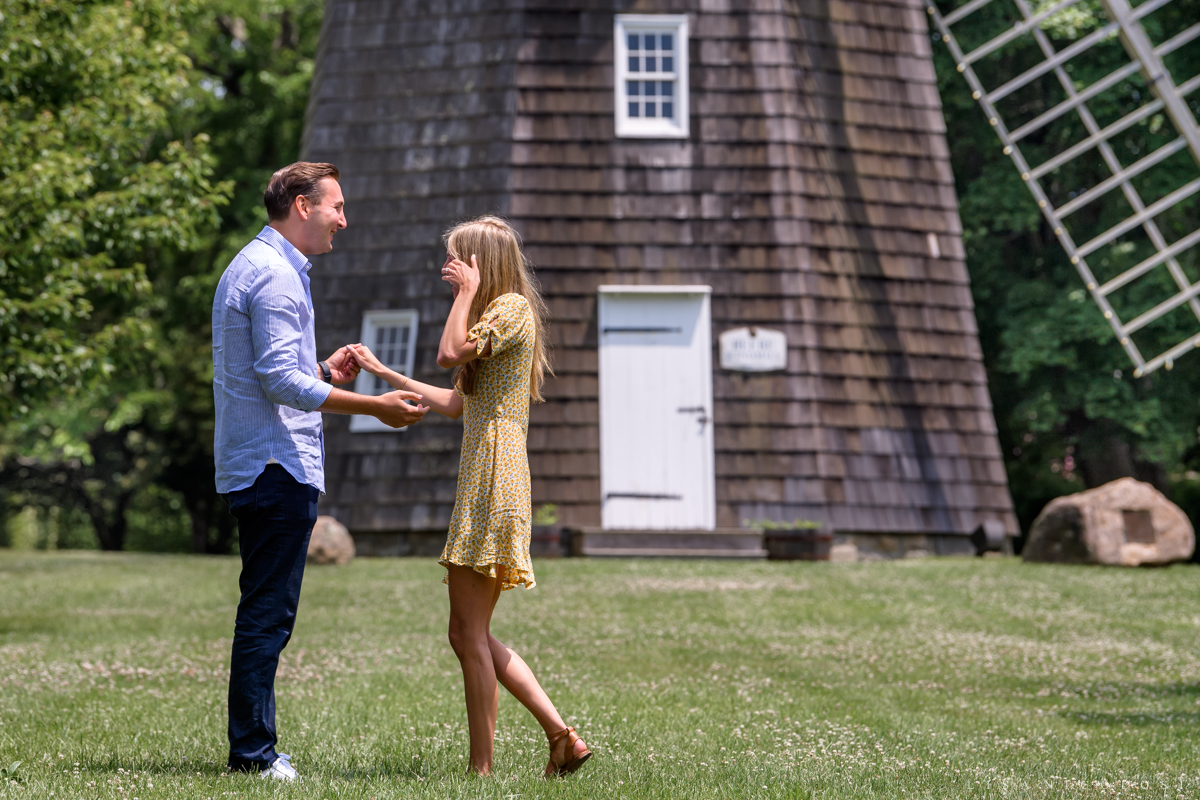 Natural Proposal Photography - Bridgehampton Surprise marriage proposal - bride wiping a tear from her eye