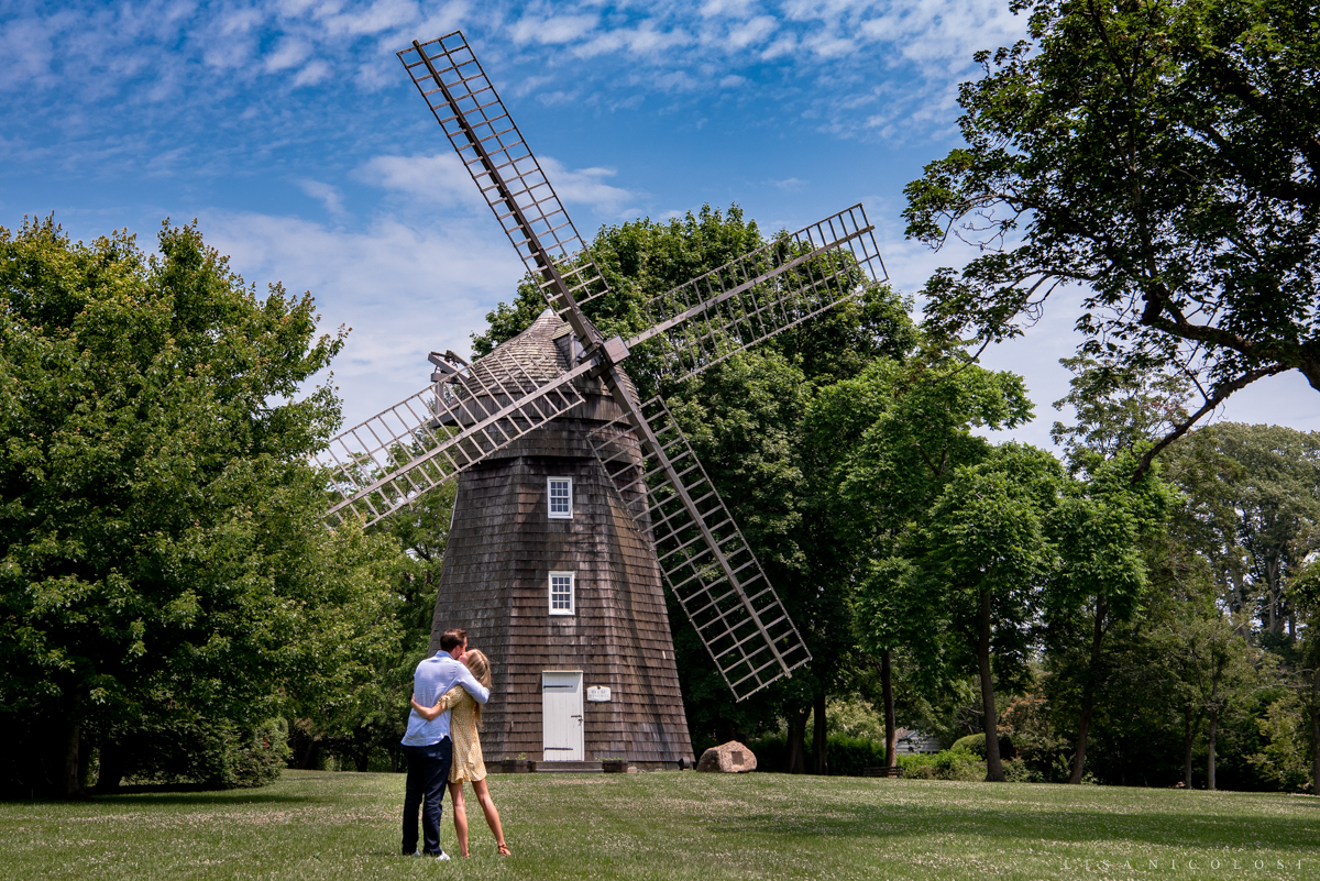 Romantic kiss at Beebe Windmill in The Hamptons - Engagement Photography