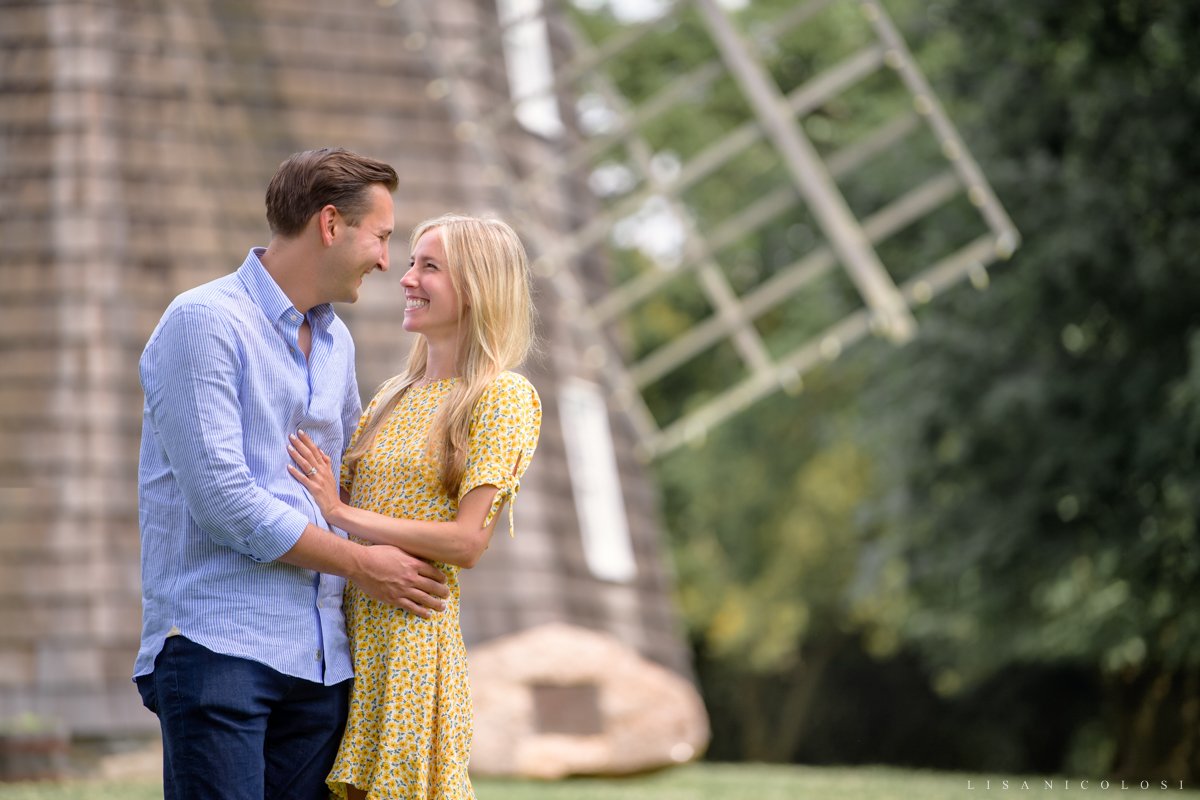 Romantic engagement portrait at Beebe Windmill in Bridgehampton