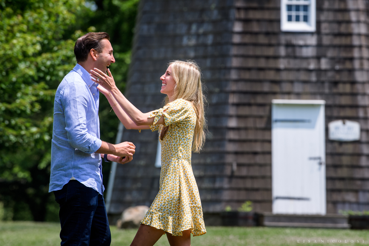 Surprise engagement proposal at Beebe Windmill in Bridgehampton