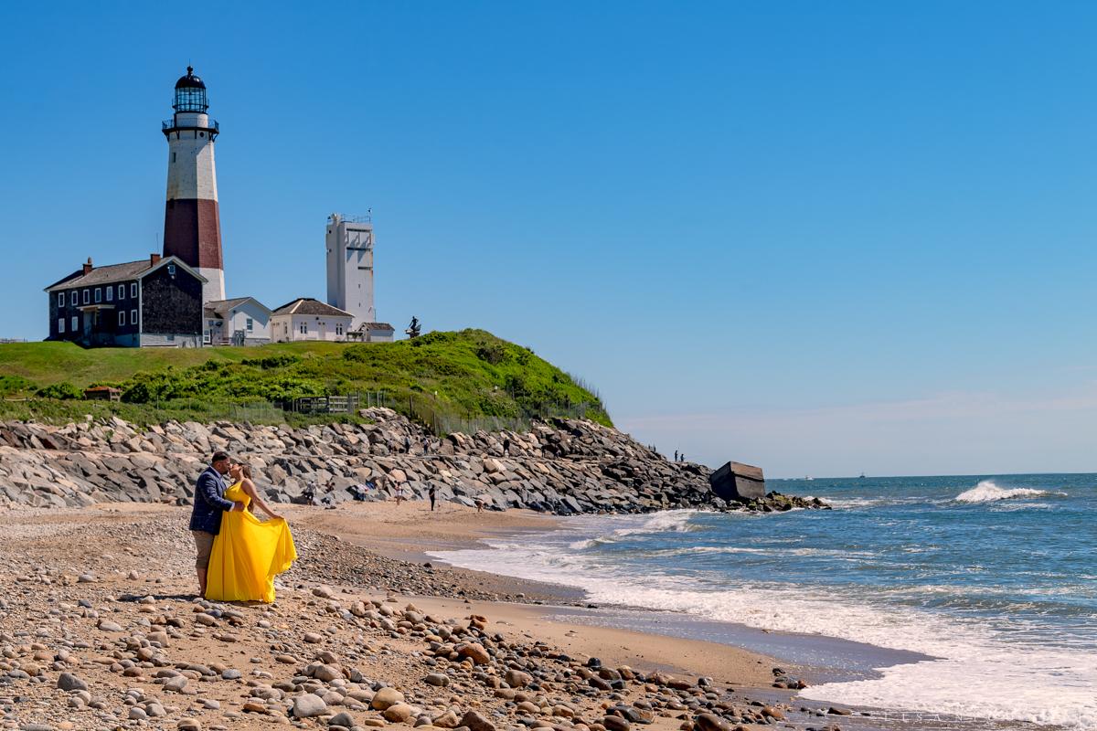 Montauk Lighthouse Engagement Session - Montauk Proposal Photographer