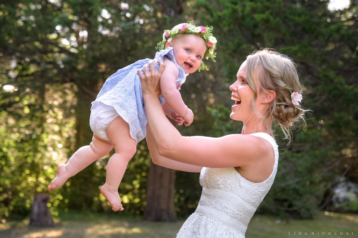 Intimate North Fork Wedding in Jamesport - Bride and baby