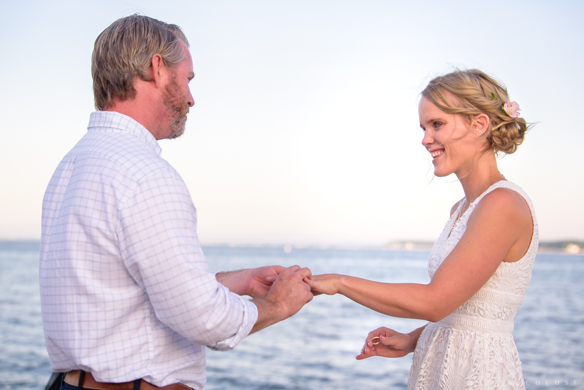 Intimate North Fork backyard wedding ceremony on beach in Jamesport - Covid 19