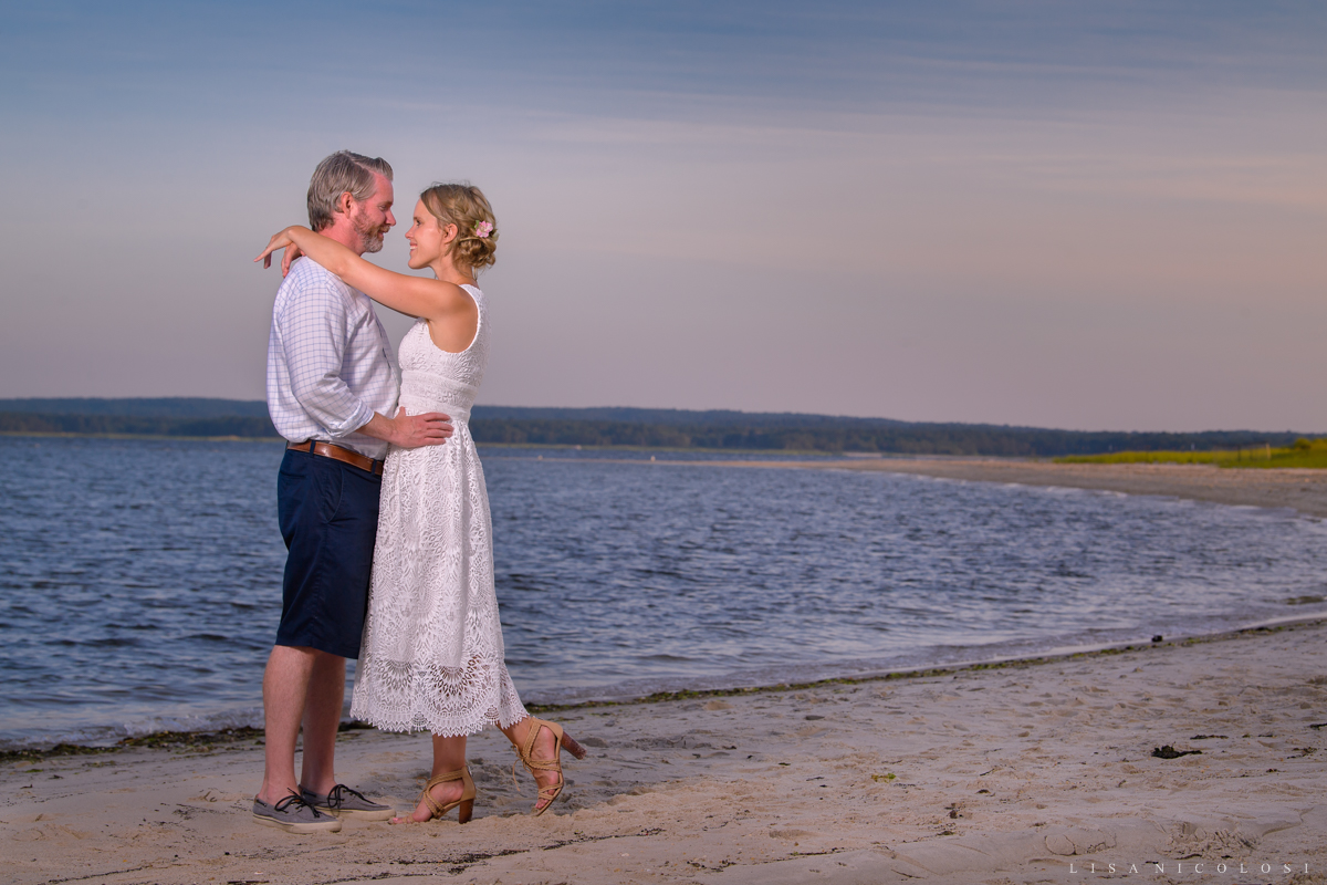 Intimate North Fork backyard wedding in Jamesport - Romantic bride and groom portraits