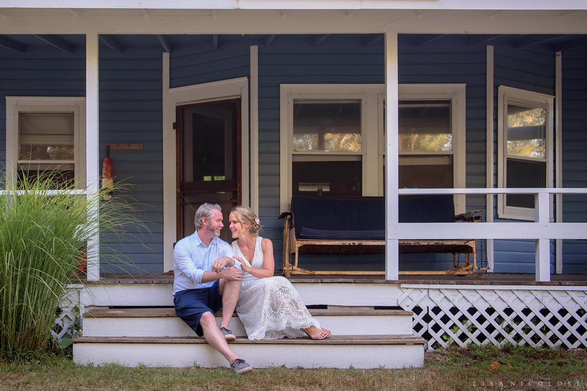 North Fork micro wedding in Jamesport NY - Bride and groom on porch