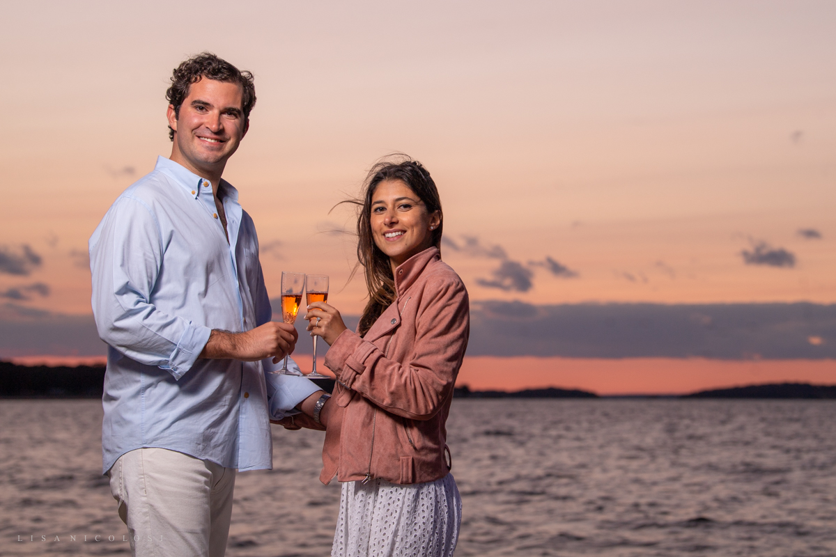 Sag Harbor Proposal and Engagement Portraits at Foster Memorial Beach during sunset