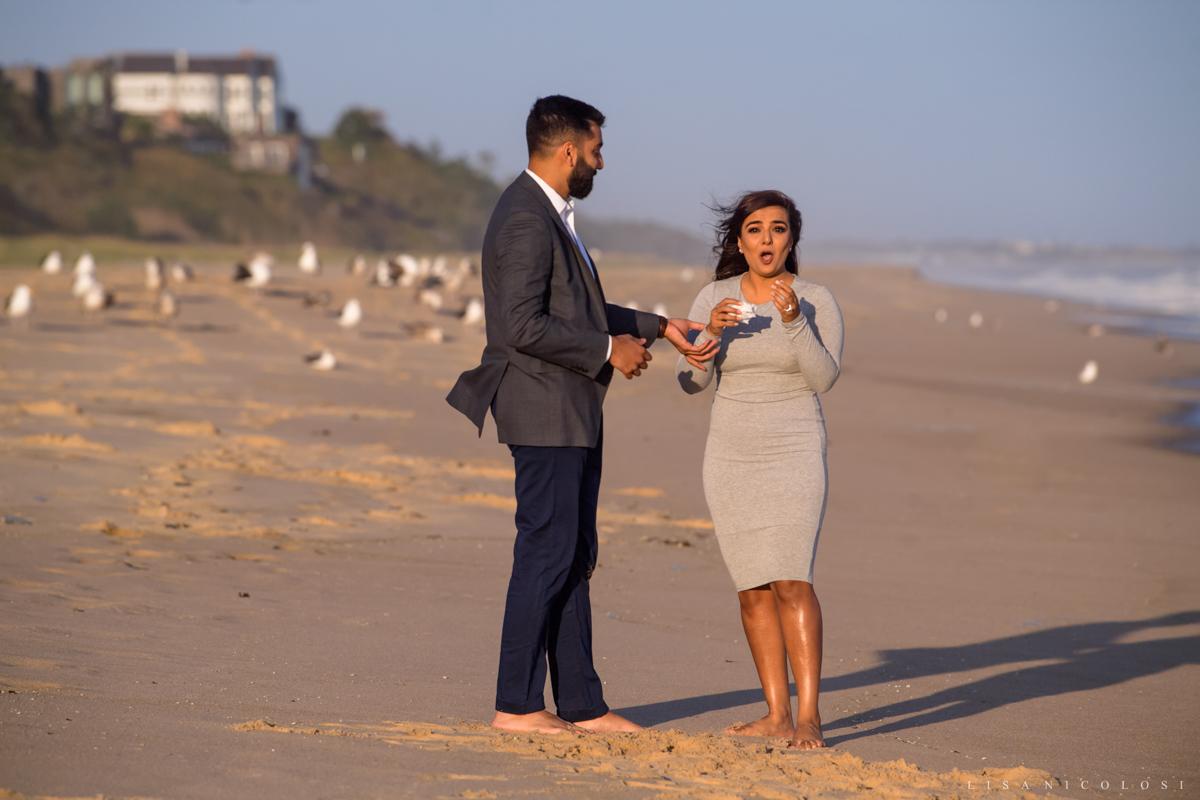 Surprise Montauk Marriage Proposal at Gurney's Resort - Couple hugging