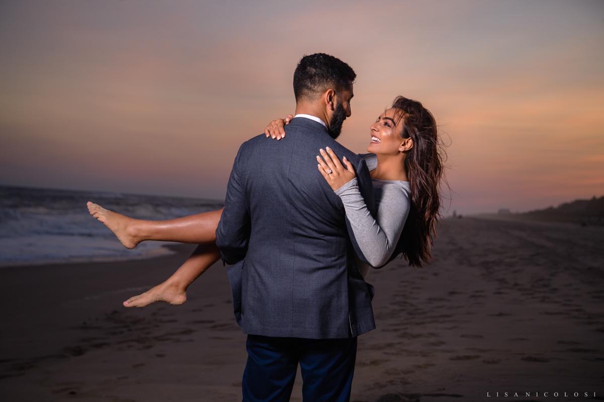Romantic and Fun Montauk Engagement Photography - Couple on beach