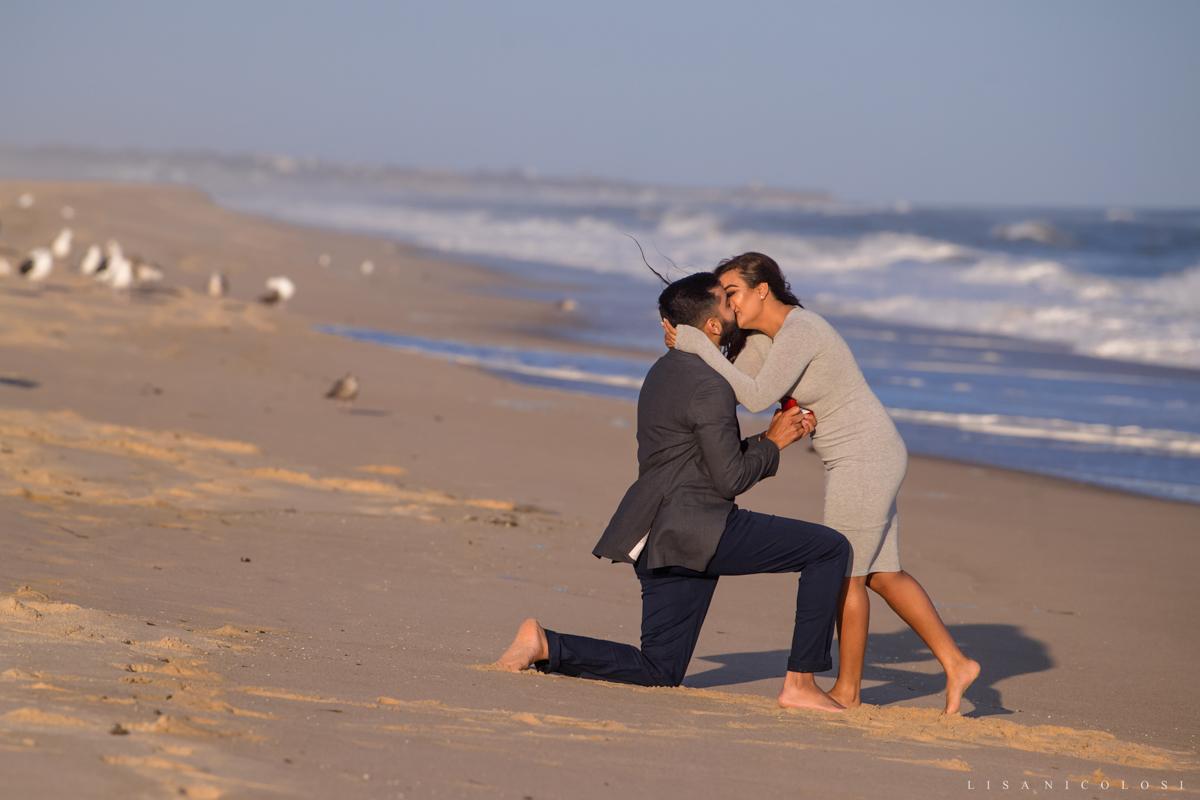 Surprise Montauk Marriage Proposal at Gurney's Resort - Couple kissing