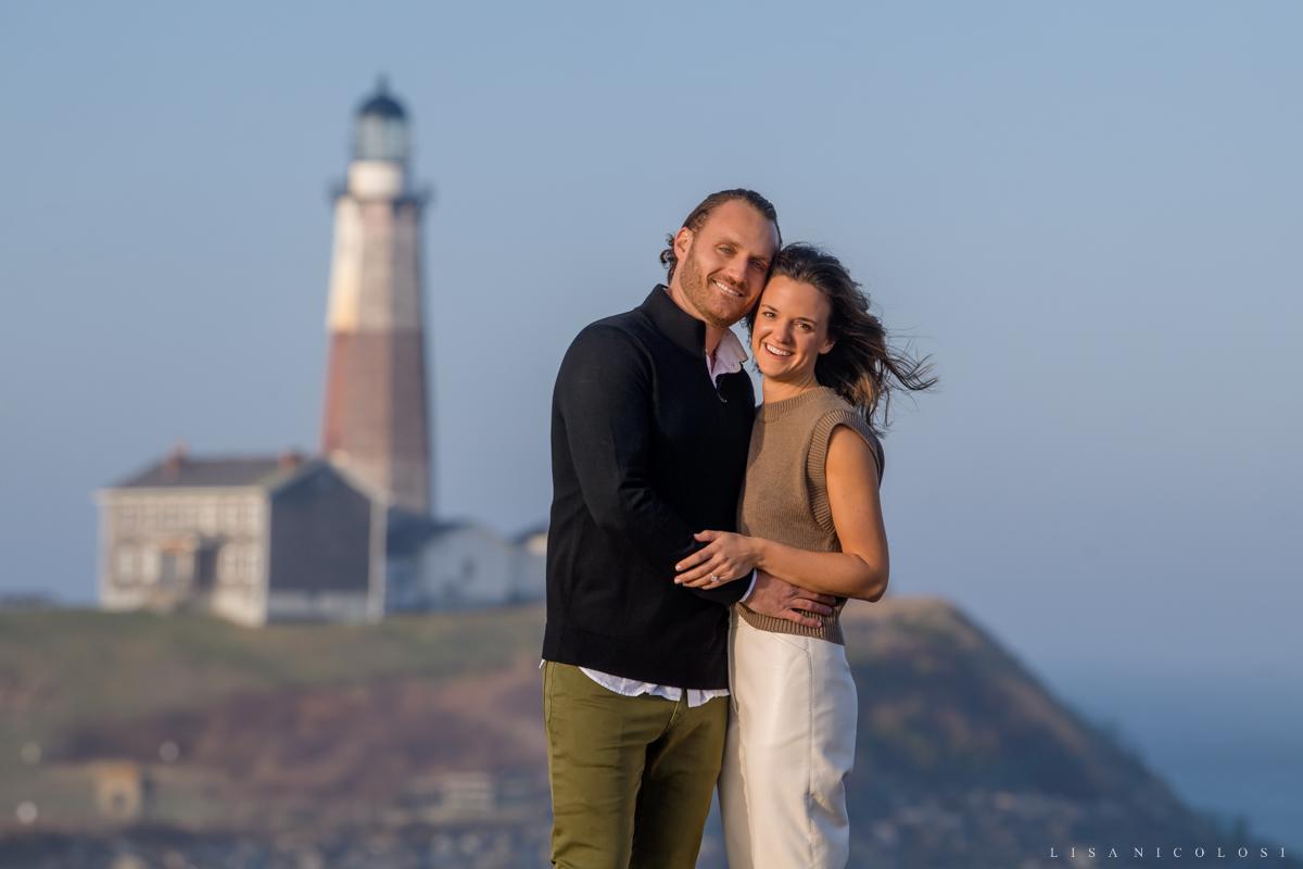 Montauk engagement portrait - Couple smiling