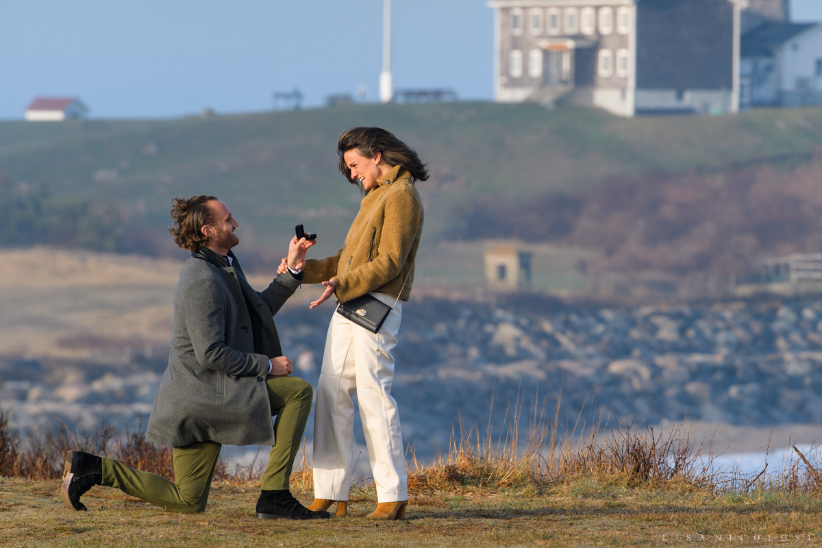 Groom to be proposing marriage to his bride to be - Engagement in Montauk