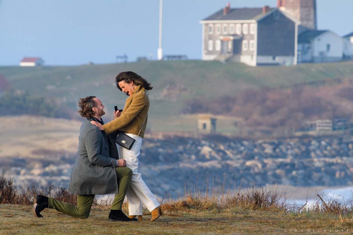 Bride to be's reaction to seeing engagement ring - Montauk Proposal