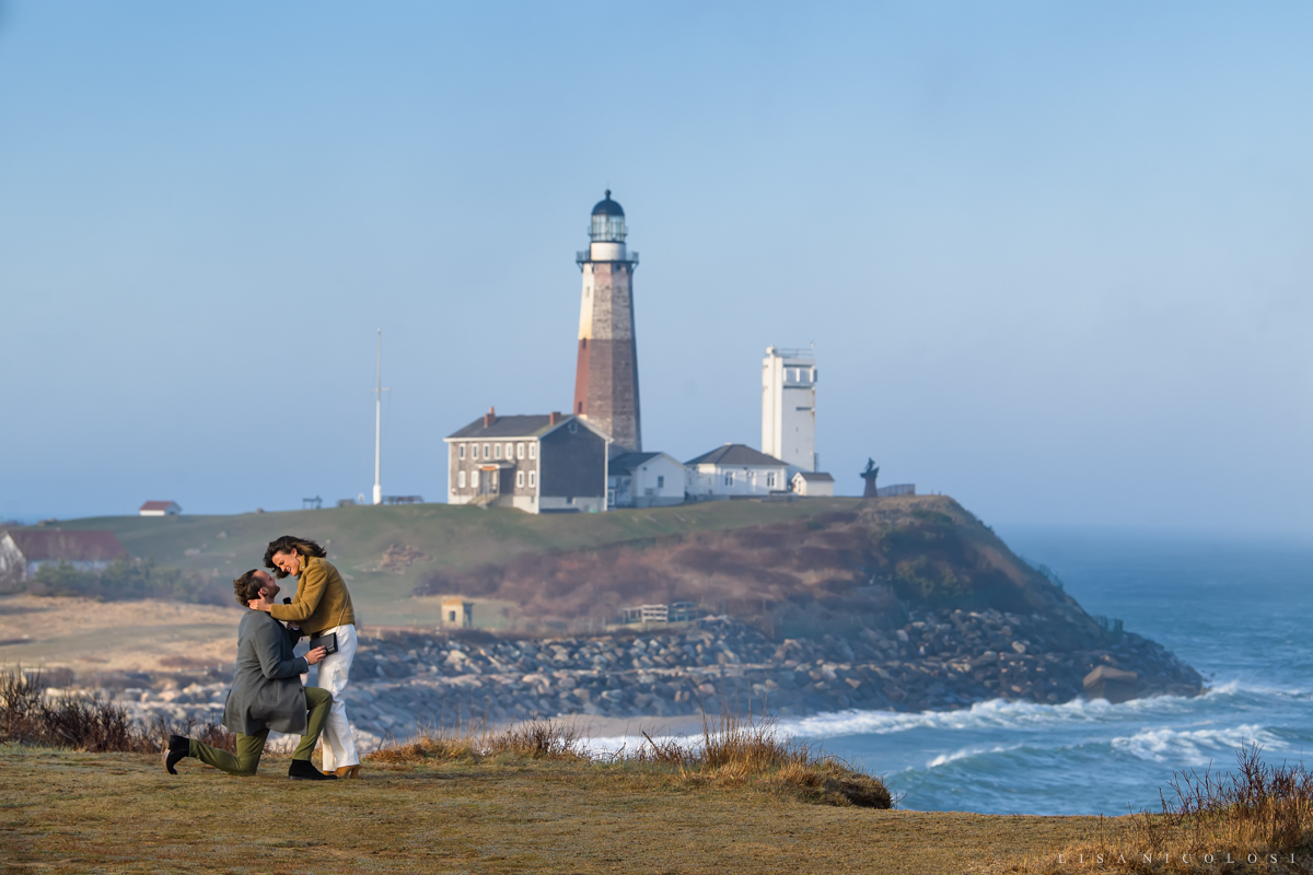 Couple about to kiss during proposal on the bluffs in Montauk | Montauk Proposal Photographer