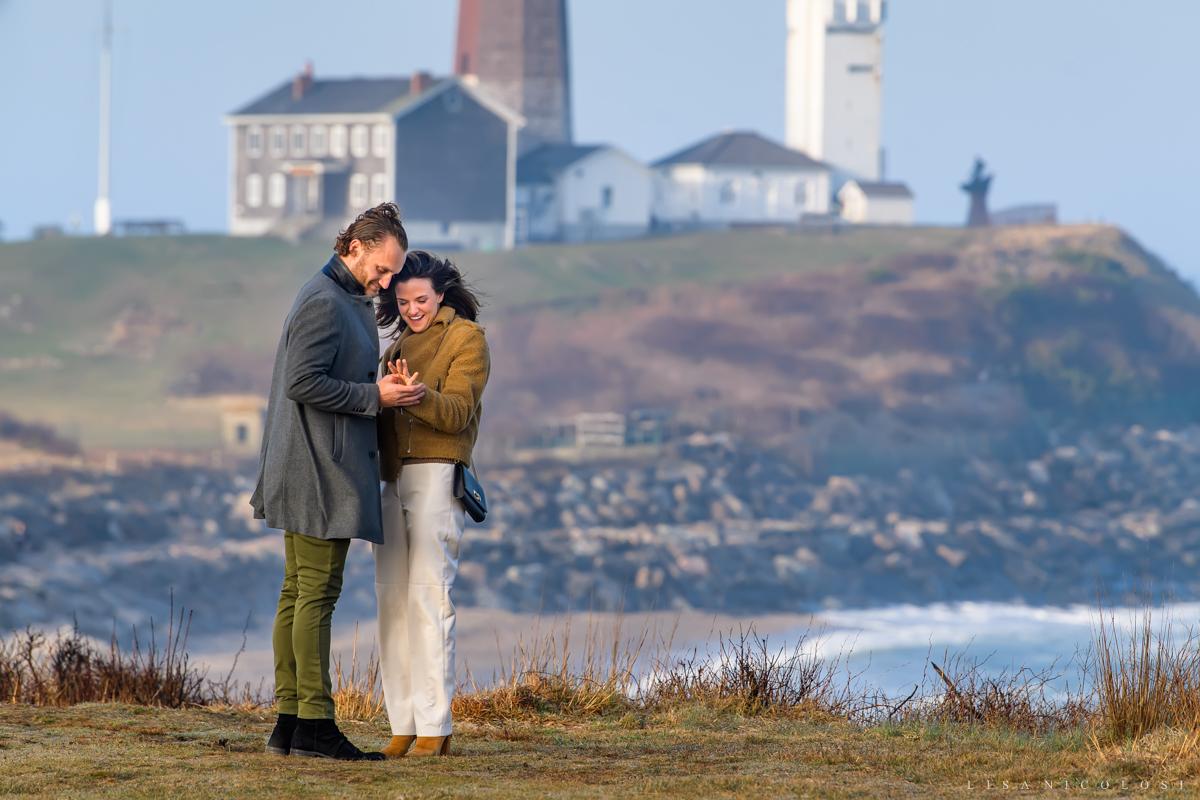 Montauk Proposal - Couple admiring engagement ring